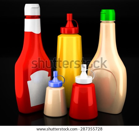 Bottles of ketchup, mustard and mayonnaise on a black background - stock photo
