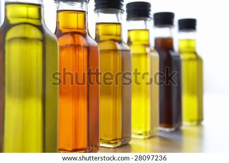 Bottles Of Olive Oil - stock photo