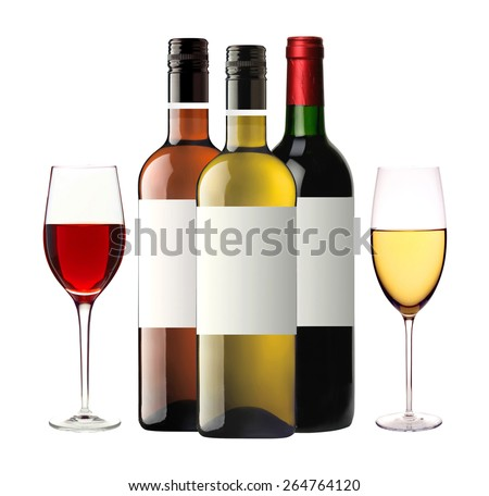 bottles of red, pink and white wine and wineglasses isolated on white background - stock photo