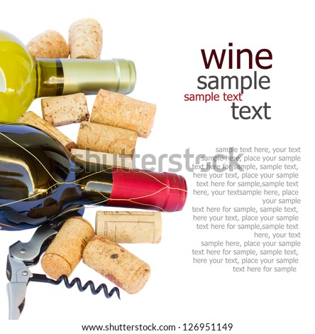 bottles of white and red wine with corks  isolated on white background