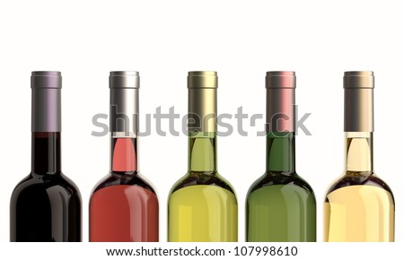 bottles of wine colored front. - stock photo