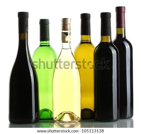 bottles of wine isolated on white - stock photo