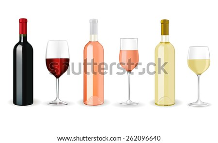 Bottles of wine with glasses   isolated on white background. Raster version - stock photo