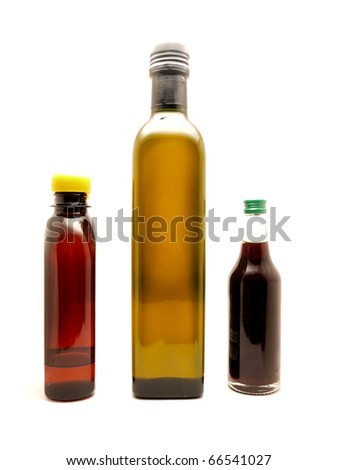 Bottles on a white background