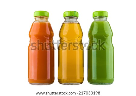 Bottles with carrot, kiwi and apple juice isolated on white background - stock photo