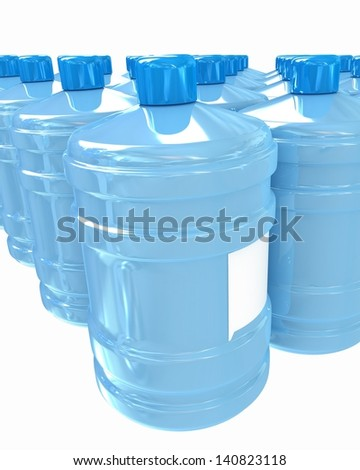 Bottles with clean blue water - stock photo