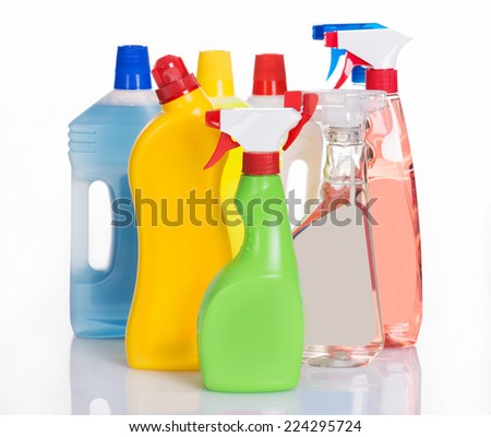 Bottles with cleaning detergents. Isolated on white
