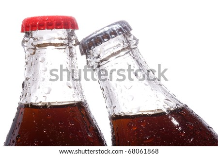 bottles with cola on white background - stock photo