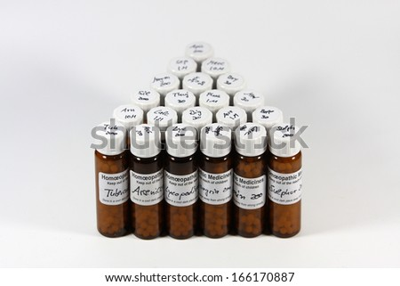 Bottles with different homeopathic remedies