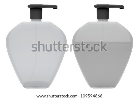 Bottles with liquid soap on white background. 3D render - stock photo