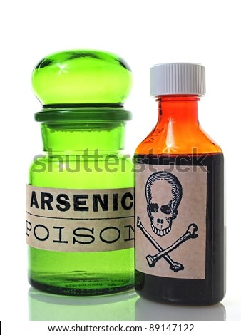 Bottles with poison or skull and cross bones label.