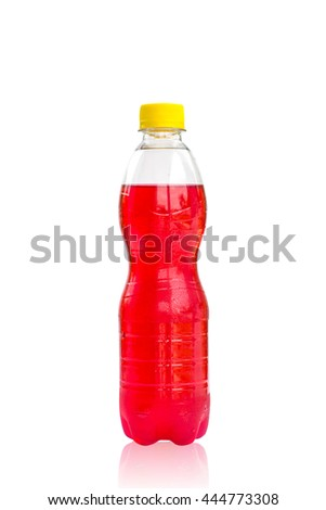bottles with tasty drinks, isolate on white background  - stock photo