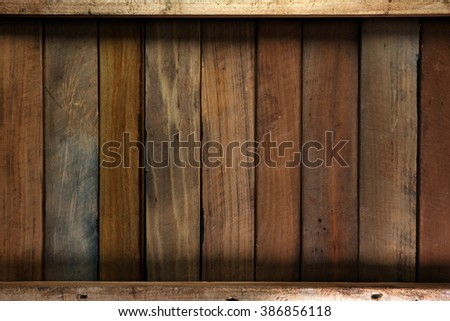 Bottom of an wooden box or crate. wood paneling made from old wood.  - stock photo