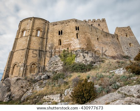 Bottom of Loarre Castle in Huesca Province, Aragon, Spain