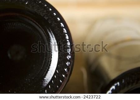 Bottom of Wine Bottle - stock photo