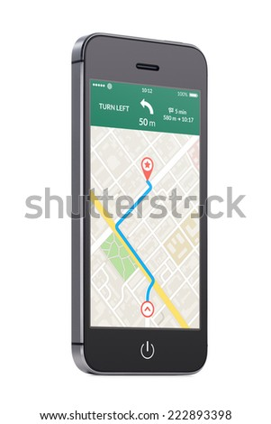 Bottom up view of rotated at a slight angle black modern mobile smart phone with map gps navigation app with planned route on the screen isolated on white background. High quality. - stock photo