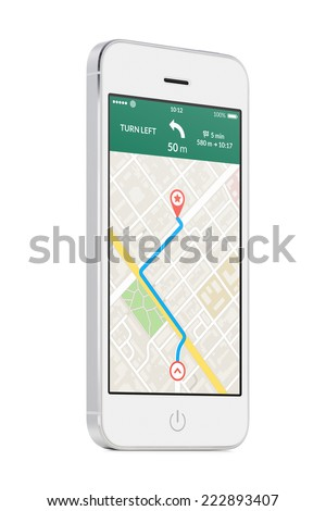 Bottom up view of rotated at a slight angle white modern mobile smart phone with map gps navigation app with planned route on the screen isolated on white background. High quality.
