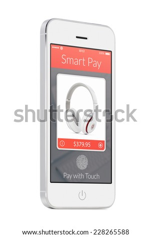 Bottom up view of rotated at a slight angle white modern mobile smart phone with nfc smart pay app on the screen isolated on white background. Concept of purchase of headphones by fingerprint scanning - stock photo