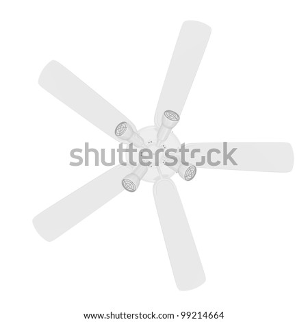 Bottom View of a 3D Rendered White Ceiling Fan on a White Background - stock photo