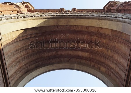 Bottom view of Arc de Triomf in Barcelona, Spain - stock photo