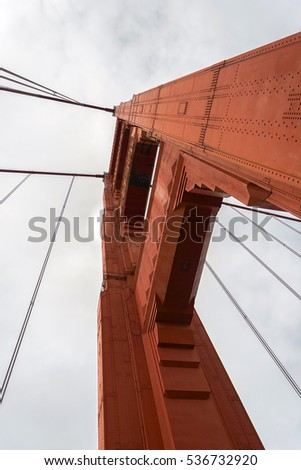 Bottom view of golden gate bridge tower