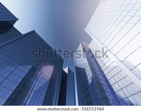 Bottom view of modern skyscrapers in business district in evening light at sunset with lens flare filter effect 3D rendering