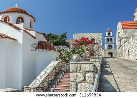 Bottom view of Orthodox temple of Agios Savvas on Greek Kalymnos island - stock photo