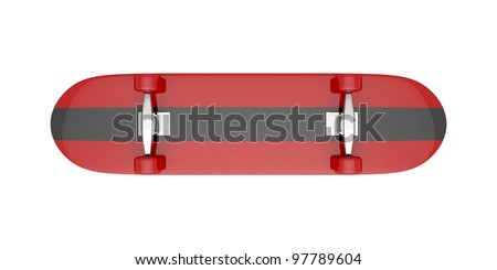 Bottom view of skateboard isolated on white - stock photo