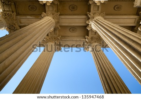 Bottom view of the columns Kazan Cathedral, St. Petersburg, Russia