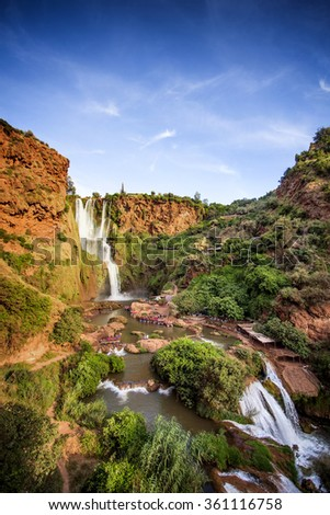 Bottom view of the Ouzoud waterfalls, Morocco - stock photo
