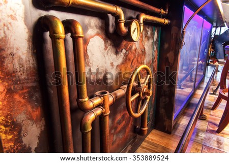 bottom view on the bar in style of steampunk - stock photo