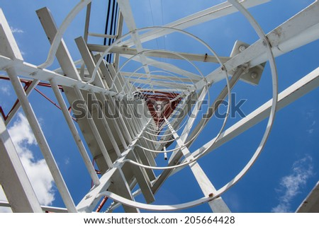 Botton view communication tower 73 meter - stock photo