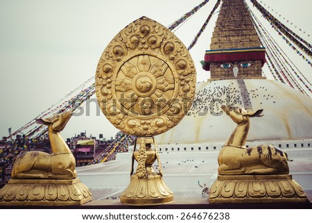 Boudhanath is a buddhist stupa in Kathmandu, Nepal. - stock photo