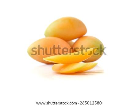 Bouea oppositifolia, Exotic Thai Fruit isolate on white background - stock photo