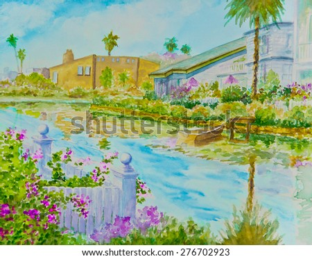 Bougainvillea plants surround a boat dock on a canal in a watercolor painting.