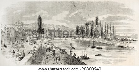Bougival bridge inauguration, old illustration. Created by Provost, published on L'Illustration, Journal Universel, Paris, 1858 - stock photo