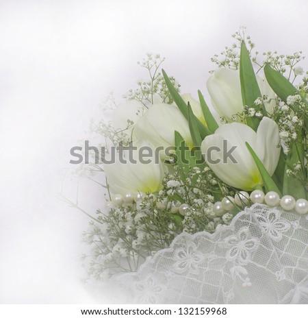 Bouguet of white tulips. - stock photo