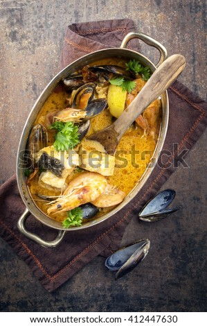 Bouillabaisse in Copper Pot - stock photo