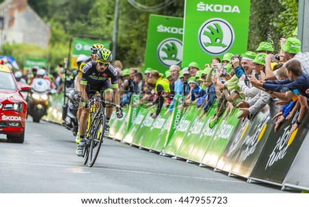 BOUILLE-MENARD,FRANCE- JUL 4: The French cyclist Armindo Fonseca of Fortuneo-Vital Concept Team wins the sprint during the stage 3 of Tour de France in Bouille-Menard on July 4, 2016.