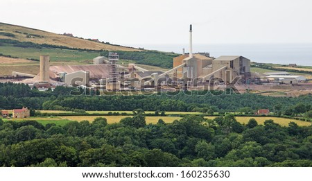 Boulby Potash Mine on the NE coast of England is the second deepest mine of any kind in Europe. It has a network of underground roads extending under the North Sea, totalling 1,000 kilometers (620 mi) - stock photo