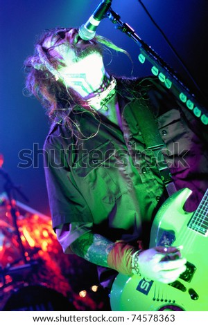 BOULDER, CO -MAY 19: Guitarist/Vocalist Max Cavalera of the Heavy Metal band Soulfly performs in concert May 19, 2003 at the Fox Theater in Boulder, CO. USA