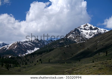 Boulder mountains in the Sawtooth National Forest near Ketchum Idaho - stock photo