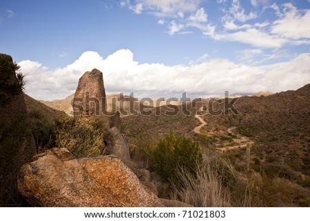 Boulders along the Four Peaks wilderness road near Phoenix, Mesa and Scottsdale Arizona in the Sonoran Desert. - stock photo