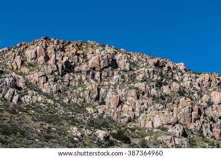 Boulders on mountain at Mission Trails Regional Park in San Diego, California.  - stock photo