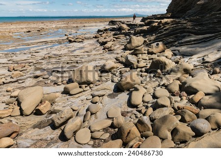 boulders on New Zealand coast at low tide - stock photo