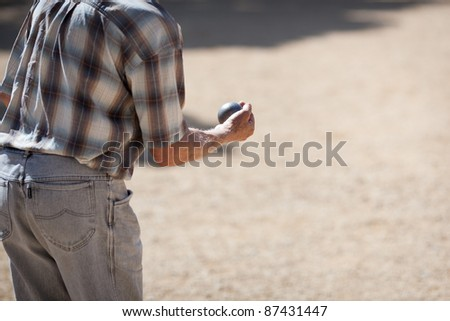 Boules (Petanque) game, French riviera - stock photo