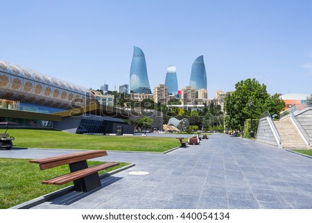 BOULEVARD  IN BAKU AZERBAIJAN- JUNE 11, 2016:  promenade along the Caspian Sea with views of the Flame Towers - a popular place for walking