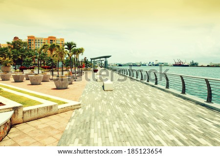 boulevard in san juan, puerto rico  - stock photo