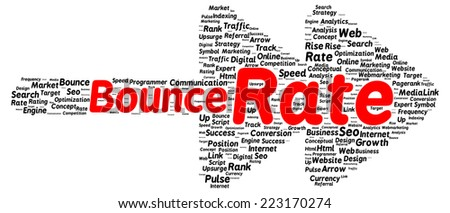 Bounce rate word cloud shape concept - stock photo