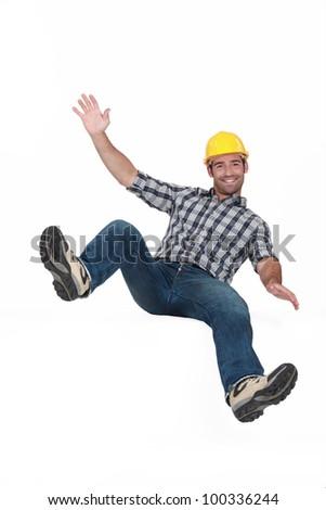 bouncing young craftsman - stock photo